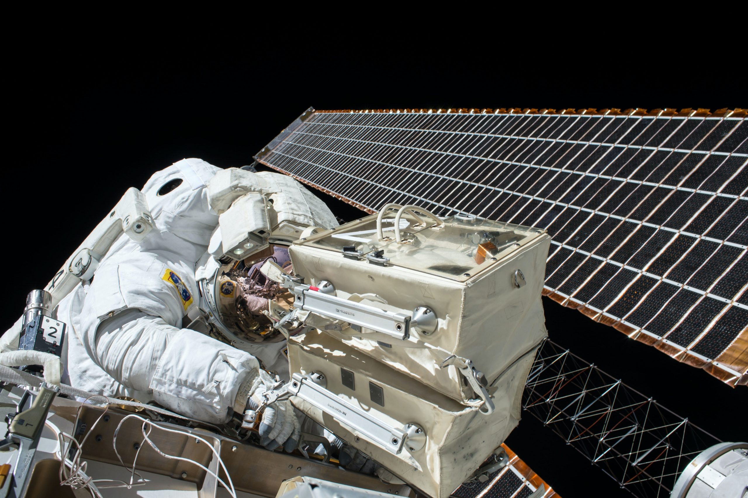 spaceman with a space satellite